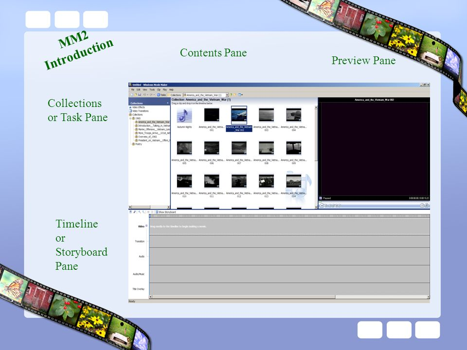 Collections or Task Pane Contents Pane Preview Pane Timeline or Storyboard Pane MM2 Introduction