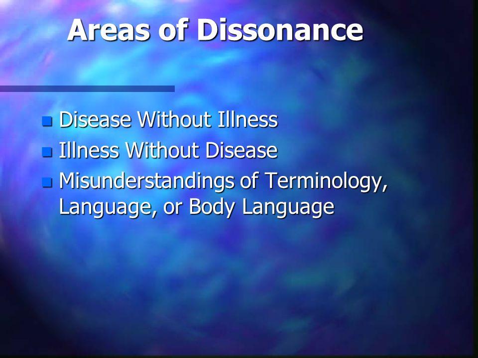 Areas of Dissonance n Disease Without Illness n Illness Without Disease n Misunderstandings of Terminology, Language, or Body Language