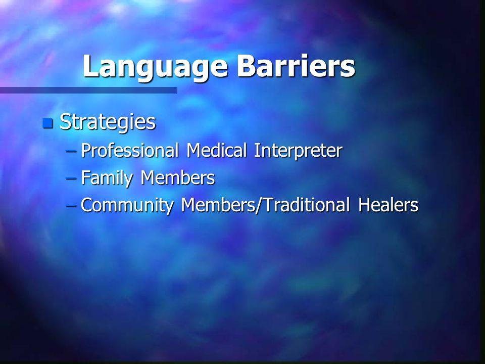Language Barriers n Strategies –Professional Medical Interpreter –Family Members –Community Members/Traditional Healers