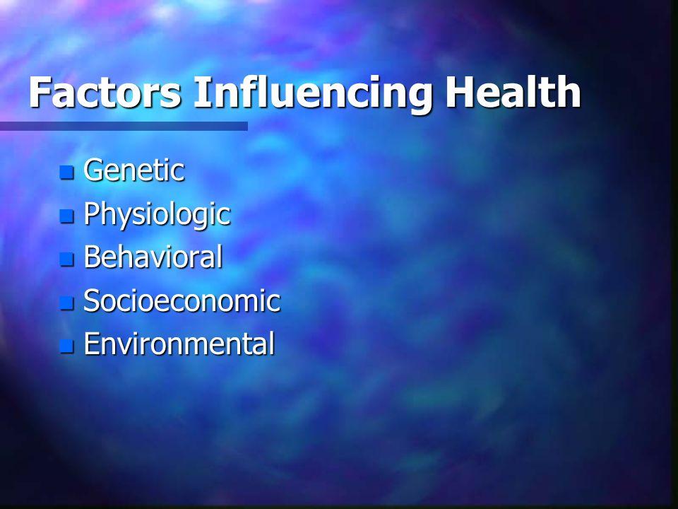 Factors Influencing Health n Genetic n Physiologic n Behavioral n Socioeconomic n Environmental