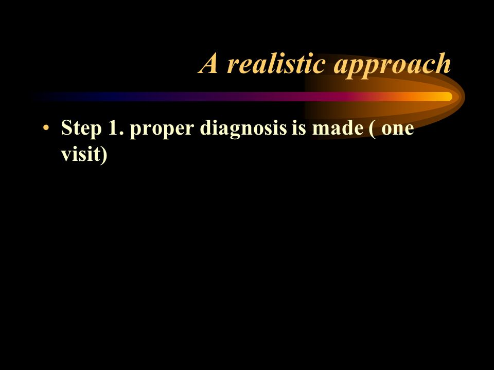A realistic approach Step 1. proper diagnosis is made ( one visit)