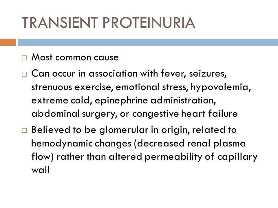 TRANSIENT PROTEINURIA Most common cause Can occur in association with fever, seizures, strenuous exercise, emotional stress, hypovolemia, extreme cold