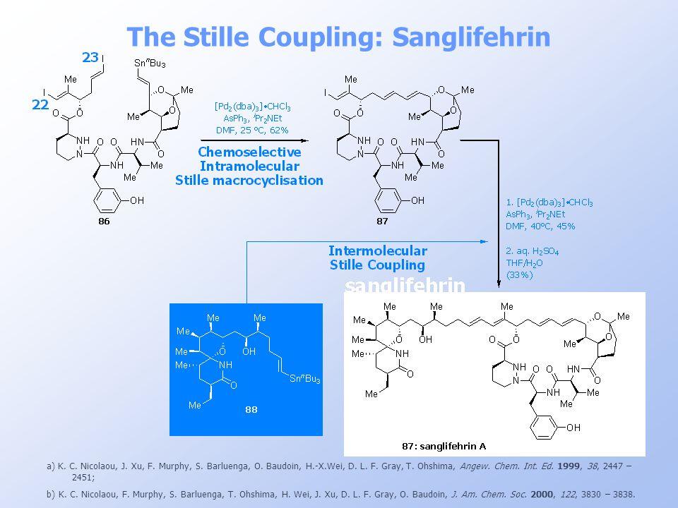 The Stille Coupling: Sanglifehrin a) K. C. Nicolaou, J. Xu, F. Murphy, S. Barluenga, O. Baudoin, H.-X.Wei, D. L. F. Gray, T. Ohshima, Angew. Chem. Int