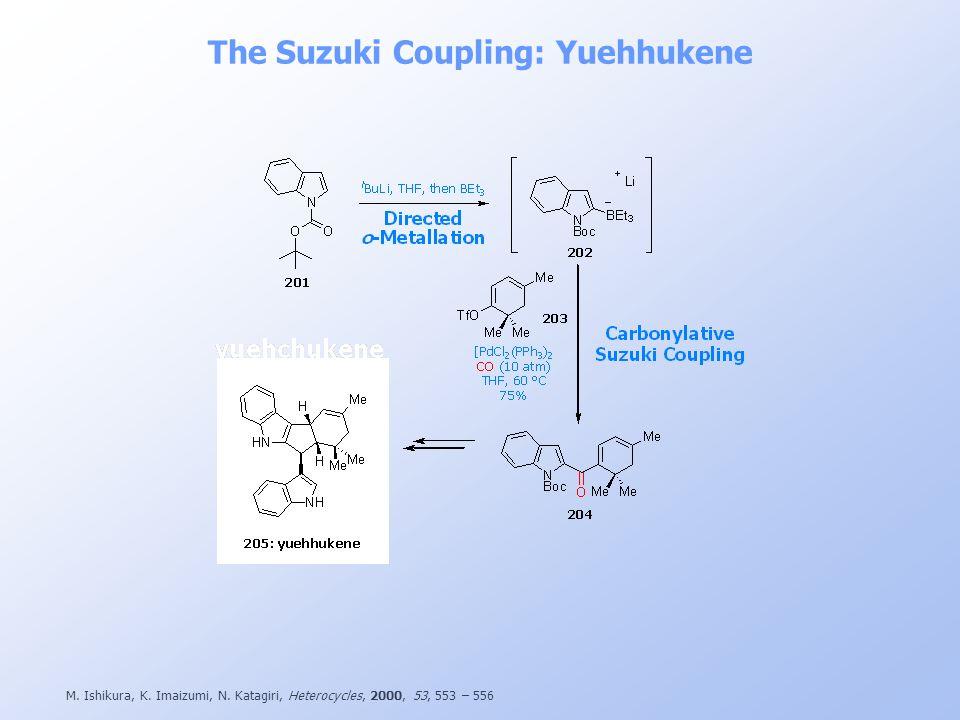 M. Ishikura, K. Imaizumi, N. Katagiri, Heterocycles, 2000, 53, 553 – 556 The Suzuki Coupling: Yuehhukene