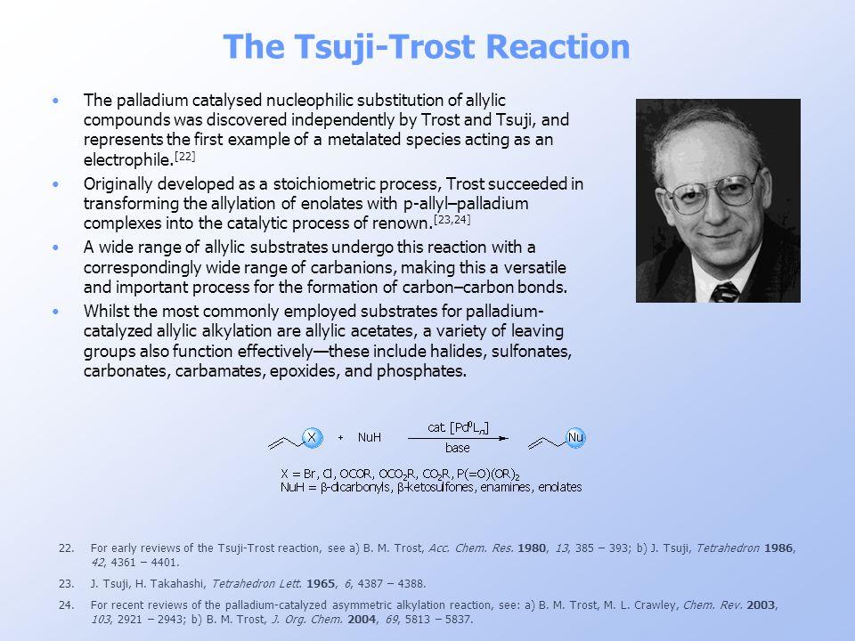 The Tsuji-Trost Reaction 22.For early reviews of the Tsuji-Trost reaction, see a) B. M. Trost, Acc. Chem. Res. 1980, 13, 385 – 393; b) J. Tsuji, Tetra