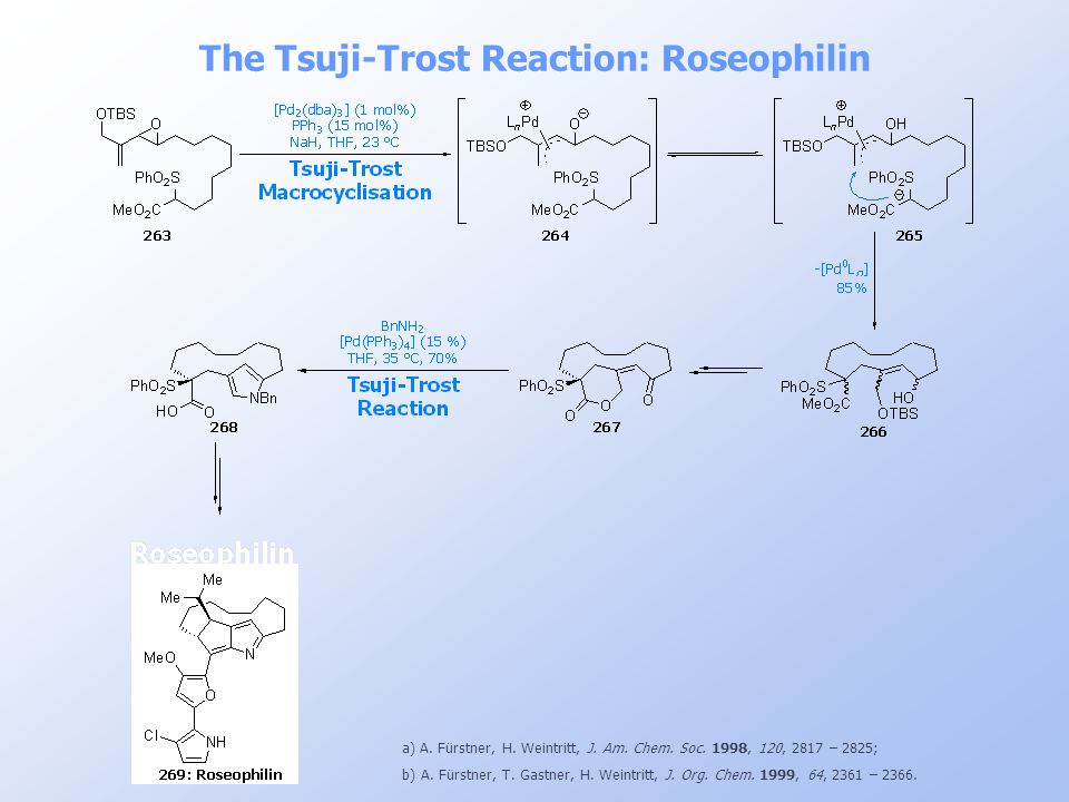 The Tsuji-Trost Reaction: Roseophilin a) A. Fürstner, H. Weintritt, J. Am. Chem. Soc. 1998, 120, 2817 – 2825; b) A. Fürstner, T. Gastner, H. Weintritt