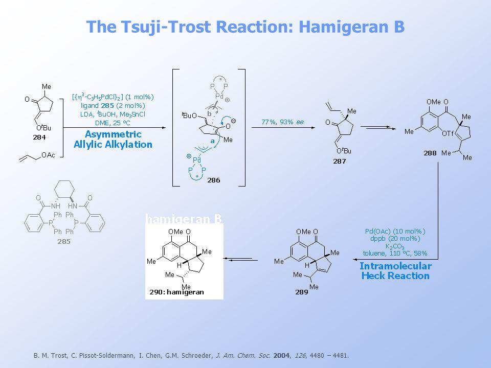The Tsuji-Trost Reaction: Hamigeran B B. M. Trost, C. Pissot-Soldermann, I. Chen, G.M. Schroeder, J. Am. Chem. Soc. 2004, 126, 4480 – 4481.