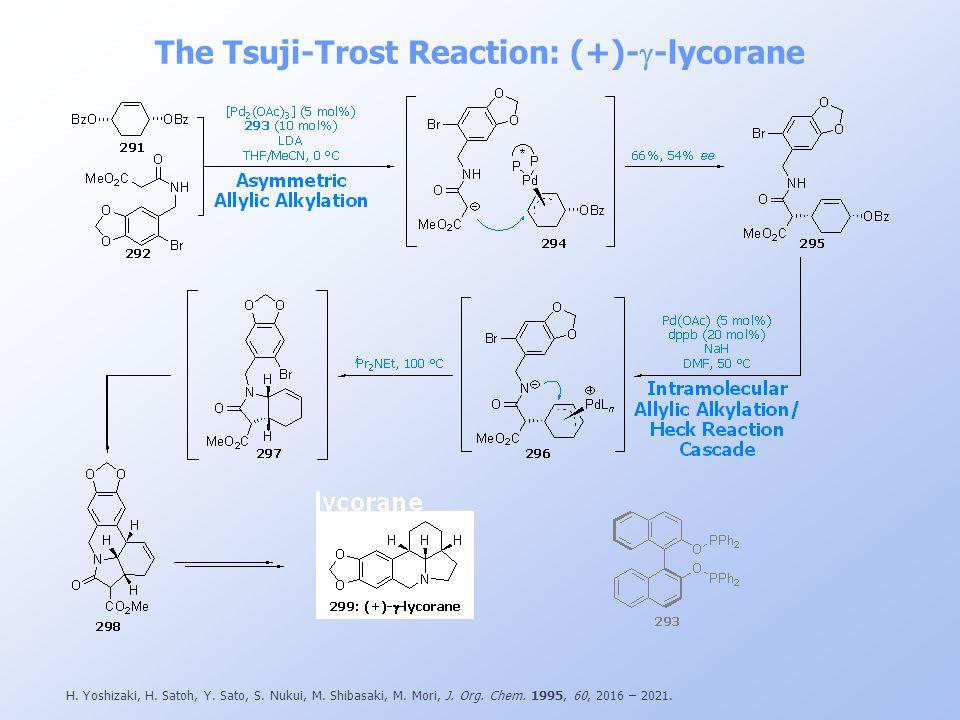 The Tsuji-Trost Reaction: (+)- -lycorane H. Yoshizaki, H. Satoh, Y. Sato, S. Nukui, M. Shibasaki, M. Mori, J. Org. Chem. 1995, 60, 2016 – 2021.