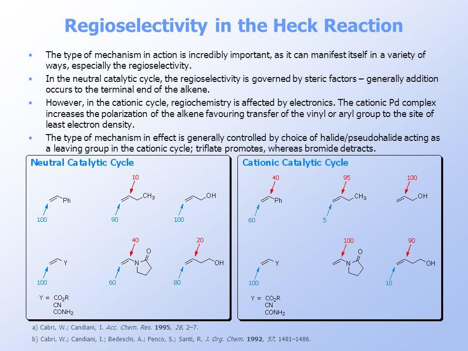 Regioselectivity in the Heck Reaction a) Cabri, W.; Candiani, I. Acc. Chem. Res. 1995, 28, 2–7. b) Cabri, W.; Candiani, I.; Bedeschi, A.; Penco, S.; S
