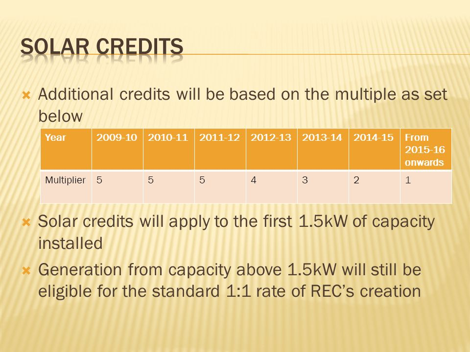 Additional credits will be based on the multiple as set below Solar credits will apply to the first 1.5kW of capacity installed Generation from capacity above 1.5kW will still be eligible for the standard 1:1 rate of RECs creation Year2009-102010-112011-122012-132013-142014-15From 2015-16 onwards Multiplier5554321