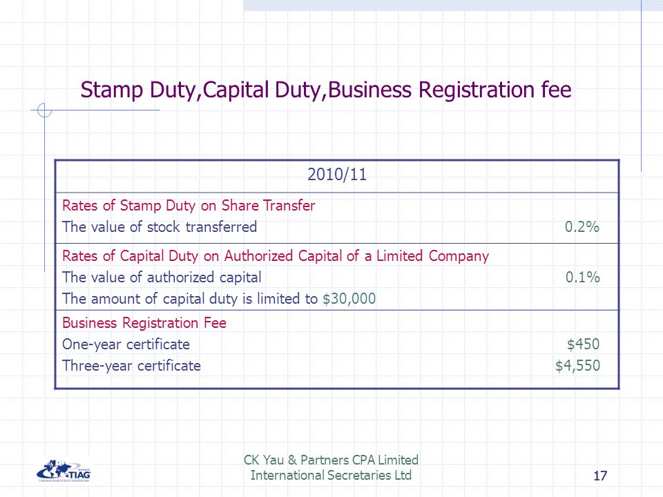 16 CK Yau & Partners CPA Limited International Secretaries Ltd16 Stamp Duty 2010/11 Amount or value of the considerationRate ExceedsDoes not exceed $2