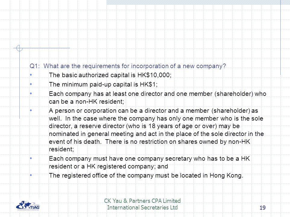 18 CK Yau & Partners CPA Limited International Secretaries Ltd18 Tips for special attention under financial planning Tax efficient planning Splitting