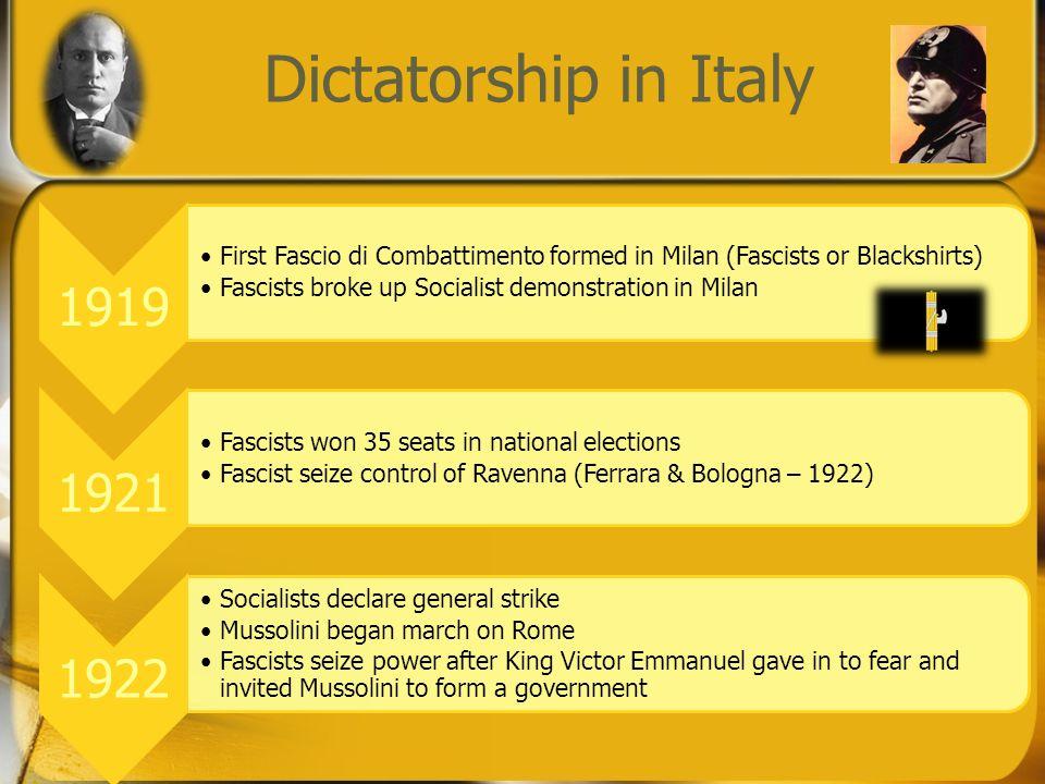 Dictatorship in Italy 1919 First Fascio di Combattimento formed in Milan (Fascists or Blackshirts) Fascists broke up Socialist demonstration in Milan