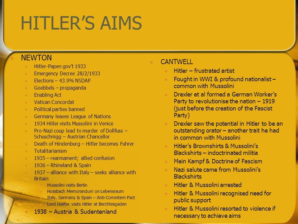 HITLERS AIMS NEWTON Hitler-Papen govt 1933 Emergency Decree 28/2/1933 Elections – 43.9% NSDAP Goebbels – propaganda Enabling Act Vatican Concordat Pol