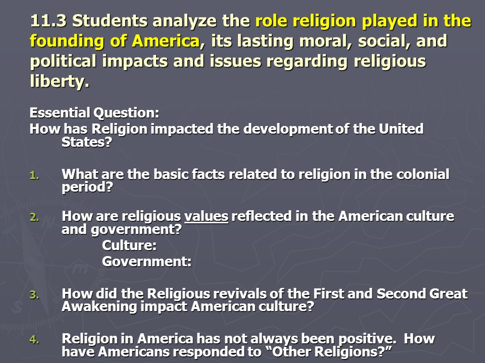 11.3 Students analyze the role religion played in the founding of America, its lasting moral, social, and political impacts and issues regarding relig