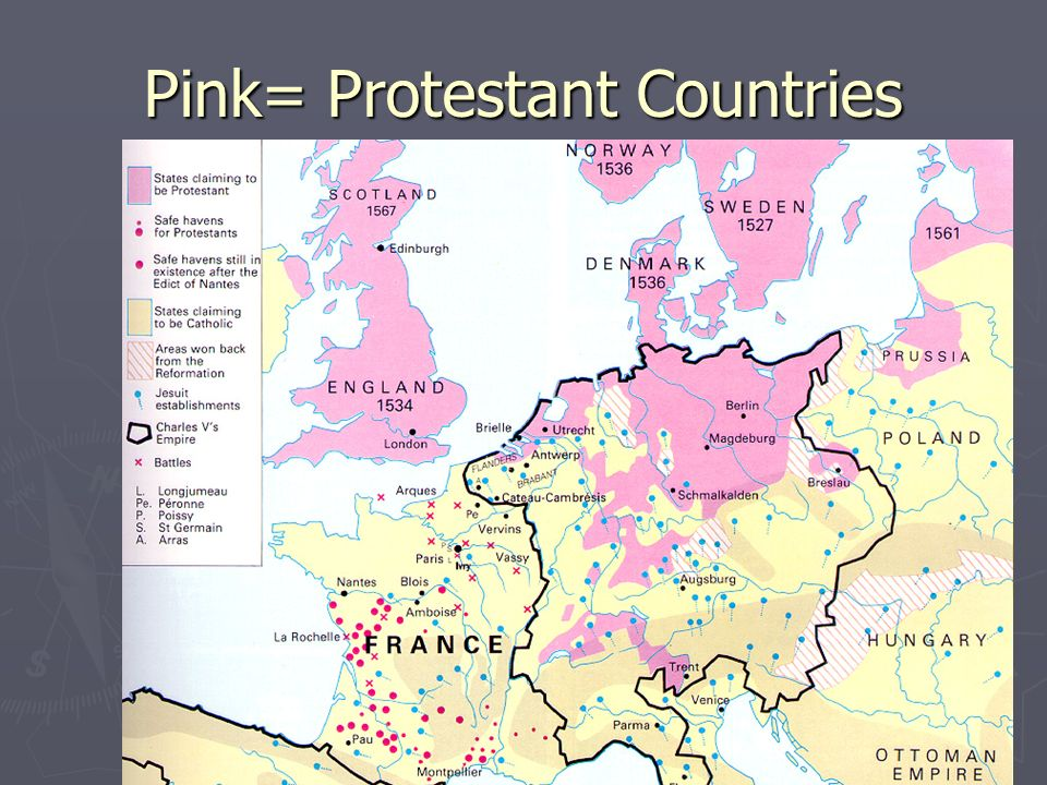 Pink= Protestant Countries