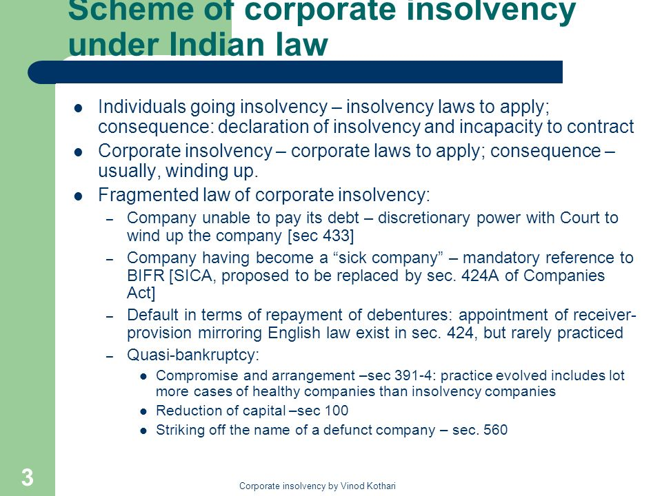 Corporate insolvency by Vinod Kothari 14 The stacking order of priorities Secured creditors from out of the assets securing their claims, subject to pari passu claim of workmen: – Court rulings holding government claims resulting into a statutory charge amount put govt in position of a secured creditor Workmen and secured creditors to the extent they sacrificed their interest to the workmen – overriding preferential claims Costs and expenses of winding up – sec 530 (6) Preferential creditors – sec 530 (1) Floating charge holders Unsecured creditors