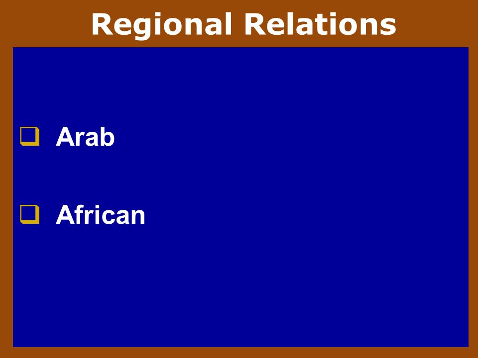 Regional Relations Arab African