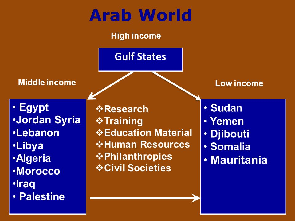 Gulf States Egypt Jordan Syria Lebanon Libya Algeria Morocco Iraq Palestine Sudan Yemen Djibouti Somalia Mauritania Research Training Education Material Human Resources Philanthropies Civil Societies Middle income Low income High income