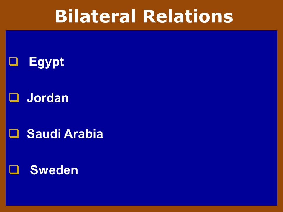 Bilateral Relations Egypt Jordan Saudi Arabia Sweden