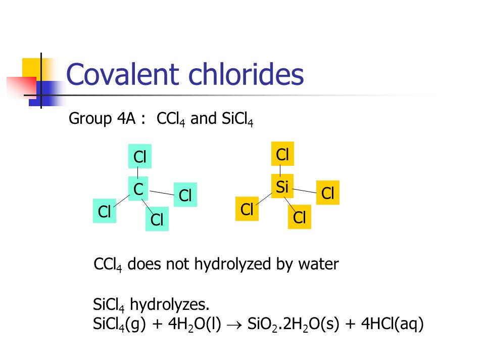 Covalent chlorides Group 4A : CCl 4 and SiCl 4 Cl Si Cl C CCl 4 does not hydrolyzed by water SiCl 4 hydrolyzes. SiCl 4 (g) + 4H 2 O(l) SiO 2.2H 2 O(s)