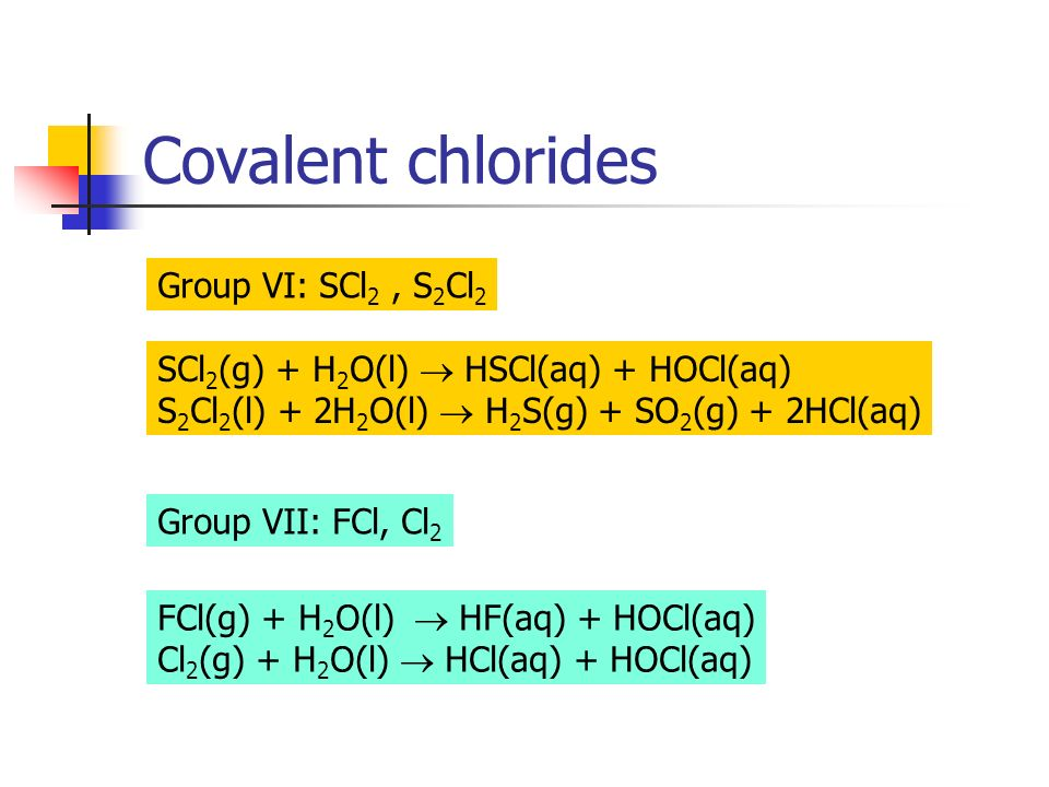 Covalent chlorides Group VI: SCl 2, S 2 Cl 2 SCl 2 (g) + H 2 O(l) HSCl(aq) + HOCl(aq) S 2 Cl 2 (l) + 2H 2 O(l) H 2 S(g) + SO 2 (g) + 2HCl(aq) Group VI