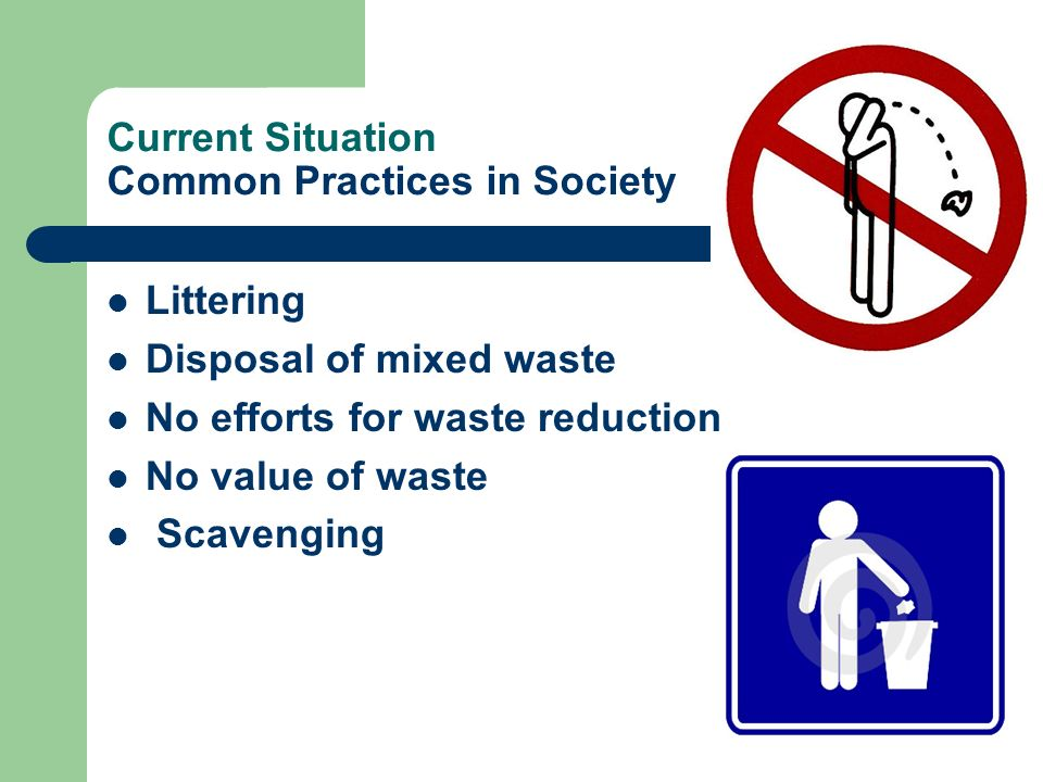 Current Situation Common Practices in Society Littering Disposal of mixed waste No efforts for waste reduction No value of waste Scavenging