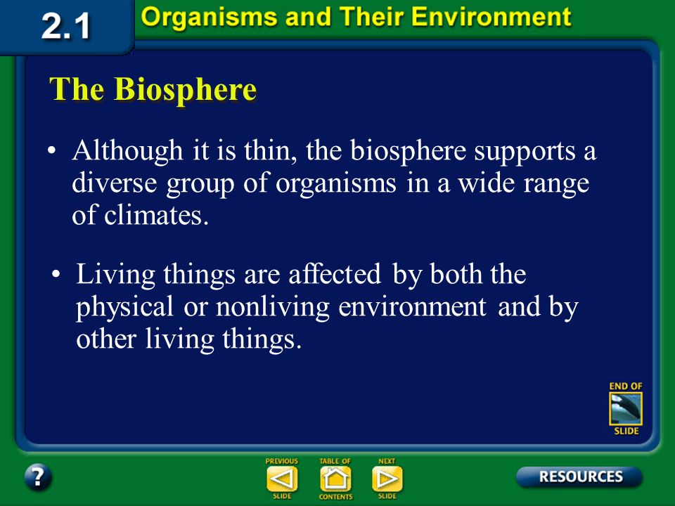 Section 2.1 Summary – pages 35 - 45 The biosphere is the portion of Earth that supports living things. It extends from high in the atmosphere to the b