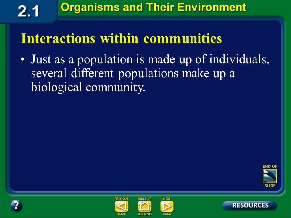 Section 2.1 Summary – pages 35 - 45 Interactions within populations Members of the same population may compete with each other for food, water, mates,