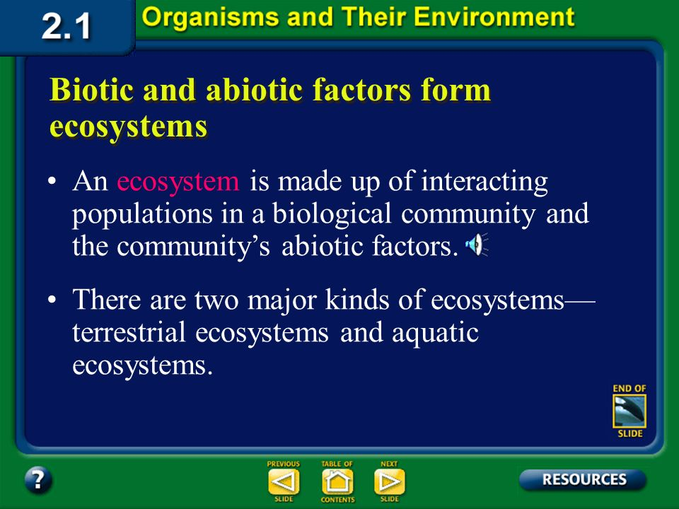 Section 2.1 Summary – pages 35 - 45 Ecosystem Populations of plants and animals that interact with each other in a given area and with the abiotic com