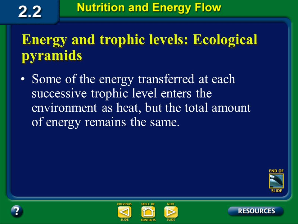 Section 2.2 Summary – pages 46 - 57 Energy and trophic levels: Ecological pyramids The total energy transfer from one trophic level to the next is onl