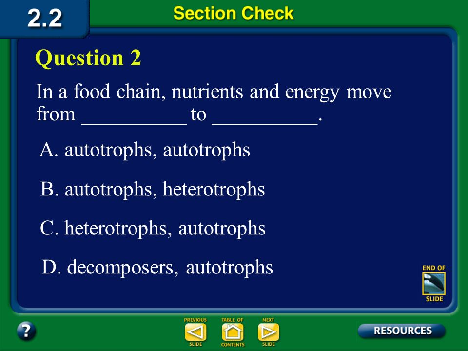 Section 2 Check The answer is A. Organisms that make energy- rich compounds are producers, or autotrophs. Nucleus Chloroplast Mitochondrion Eyespot Fl
