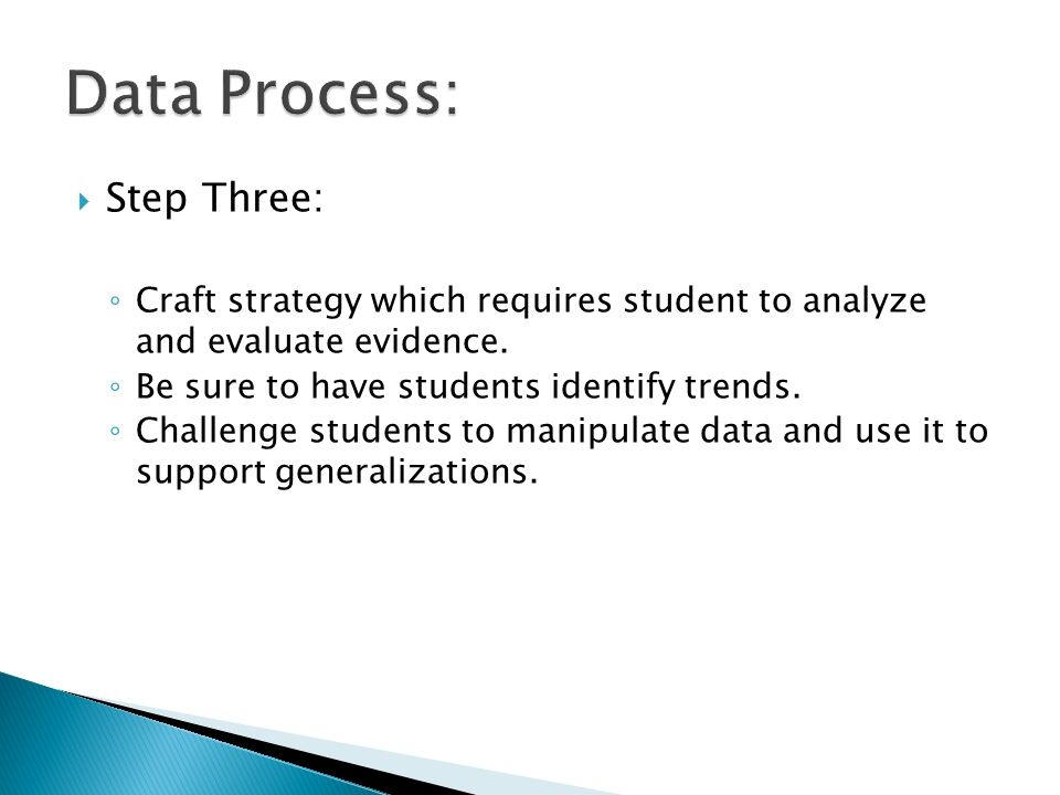 Step Three: Craft strategy which requires student to analyze and evaluate evidence.