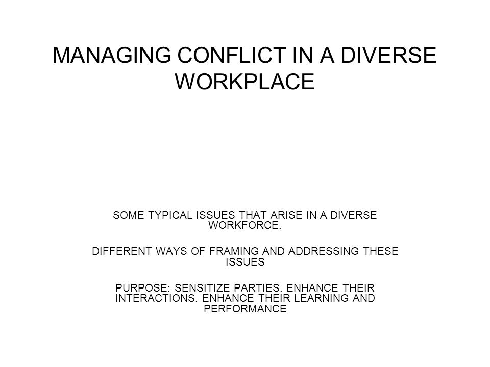 MANAGING CONFLICT IN A DIVERSE WORKPLACE SOME TYPICAL ISSUES THAT ARISE IN A DIVERSE WORKFORCE.