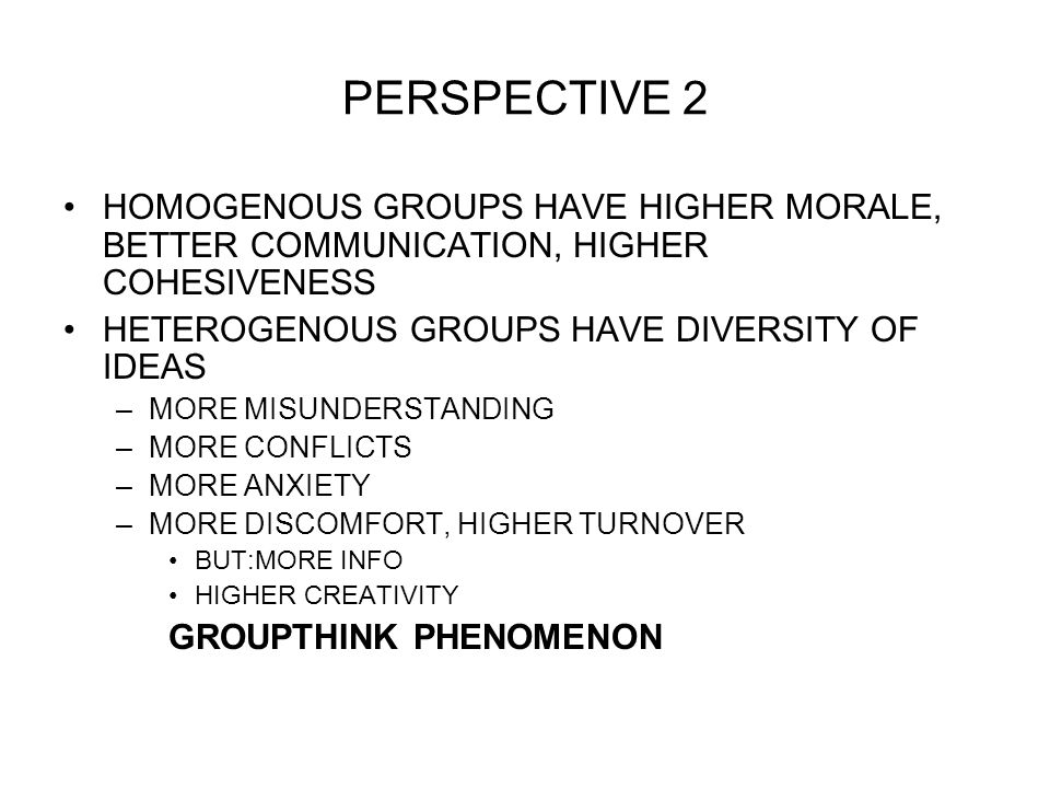 PERSPECTIVE 2 HOMOGENOUS GROUPS HAVE HIGHER MORALE, BETTER COMMUNICATION, HIGHER COHESIVENESS HETEROGENOUS GROUPS HAVE DIVERSITY OF IDEAS –MORE MISUNDERSTANDING –MORE CONFLICTS –MORE ANXIETY –MORE DISCOMFORT, HIGHER TURNOVER BUT:MORE INFO HIGHER CREATIVITY GROUPTHINK PHENOMENON