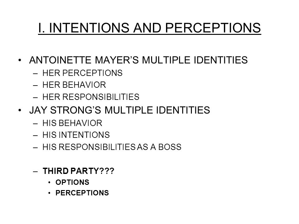 I. INTENTIONS AND PERCEPTIONS ANTOINETTE MAYERS MULTIPLE IDENTITIES –HER PERCEPTIONS –HER BEHAVIOR –HER RESPONSIBILITIES JAY STRONGS MULTIPLE IDENTITI