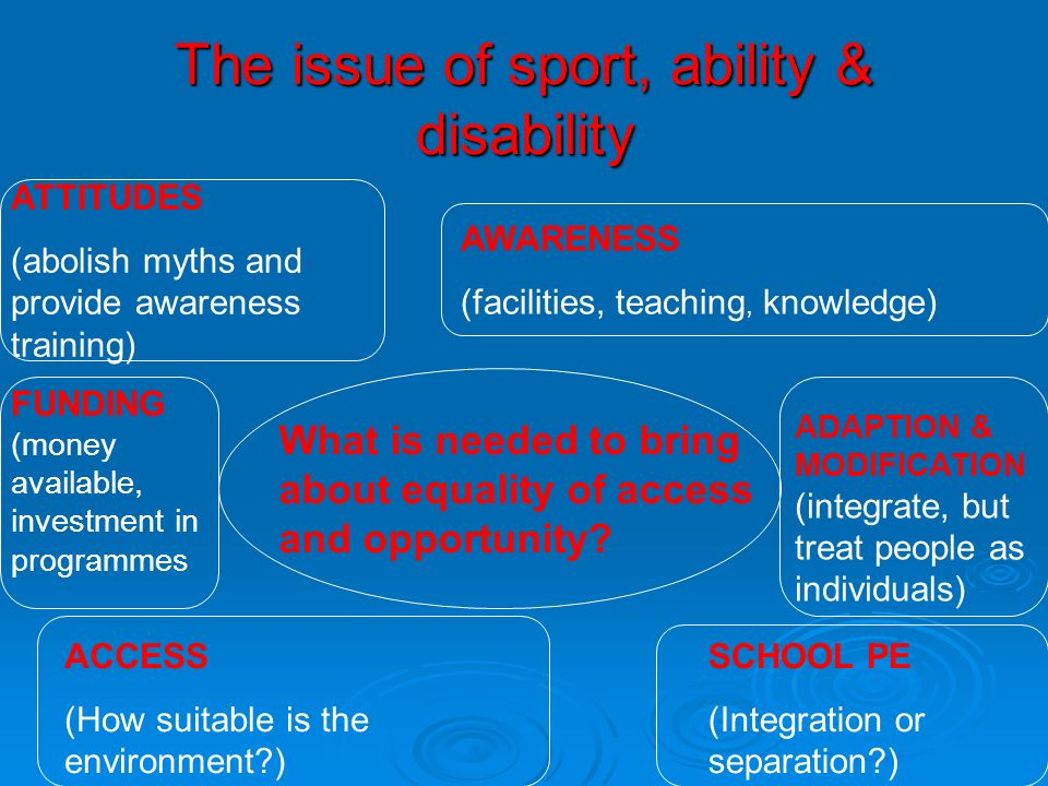 The issue of sport, ability & disability What is needed to bring about equality of access and opportunity? ATTITUDES (abolish myths and provide awaren