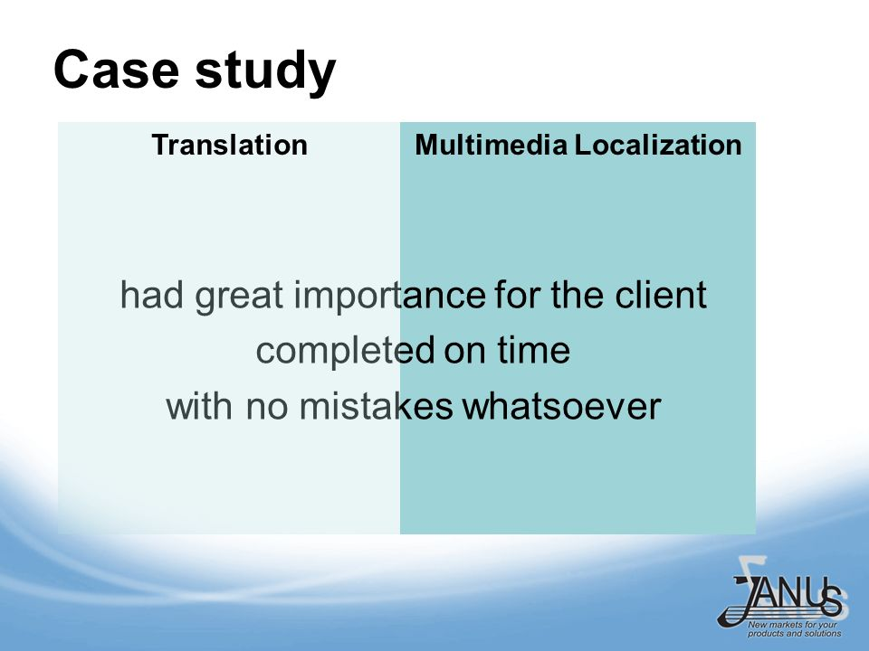 Multimedia Localization Case study had great importance for the client completed on time with no mistakes whatsoever Translation