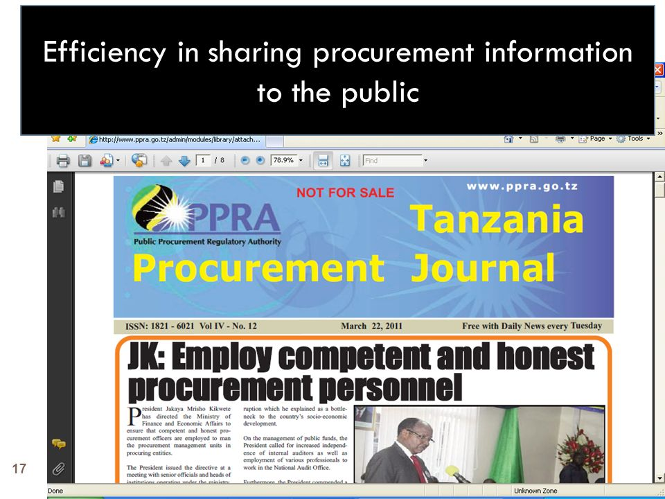 17 Efficiency in sharing procurement information to the public