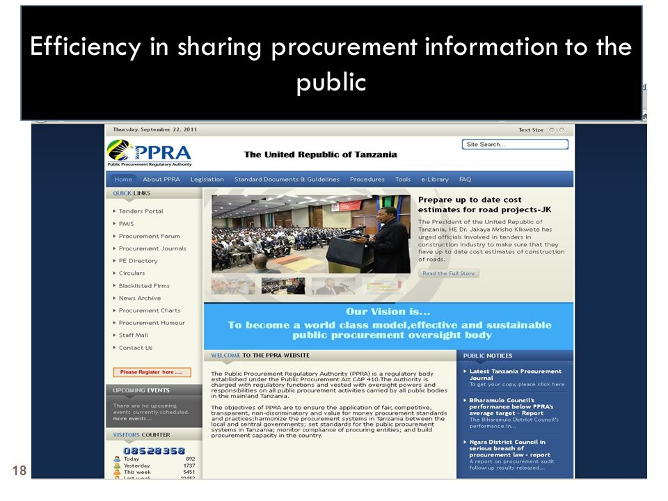 18 Efficiency in sharing procurement information to the public
