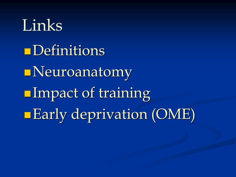 Definitions Definitions Neuroanatomy Neuroanatomy Impact of training Impact of training Early deprivation (OME) Early deprivation (OME) Links