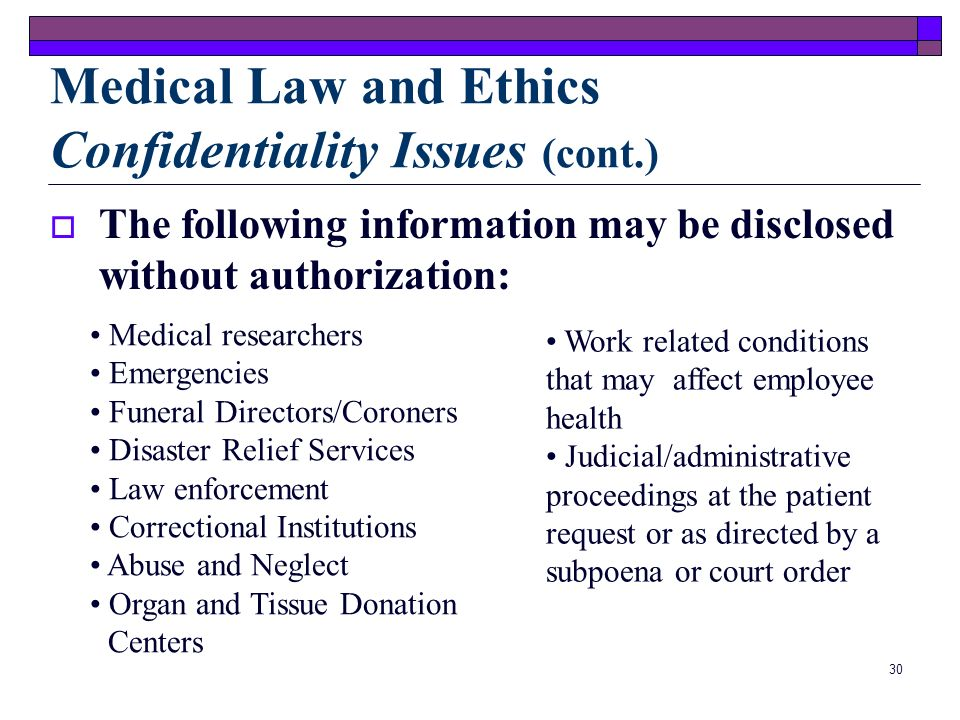 29 Medical Law and Ethics Confidentiality Issues (cont.) HIPAA will allow the provider to use health care information for: ayment perations reatment P