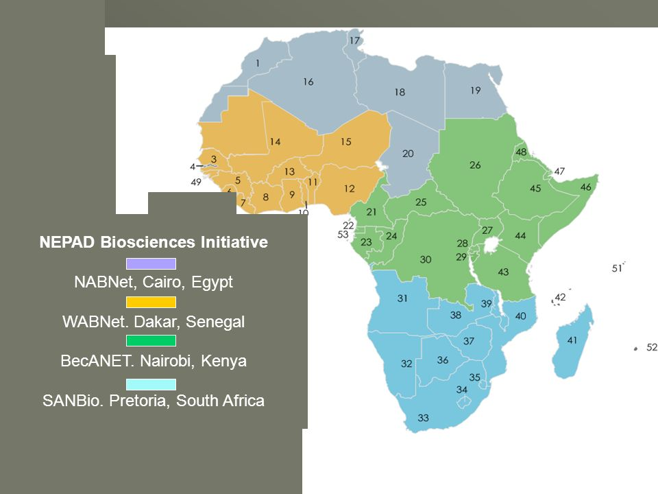 ... NEPAD Biosciences Initiative NABNet, Cairo, Egypt WABNet. Dakar, Senegal BecANET. Nairobi, Kenya SANBio. Pretoria, South Africa