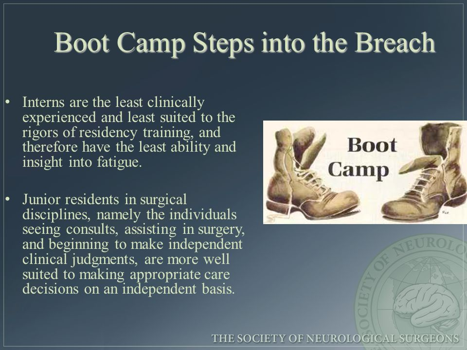Boot Camp Steps into the Breach Interns are the least clinically experienced and least suited to the rigors of residency training, and therefore have the least ability and insight into fatigue.
