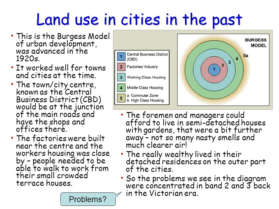 Land use in cities in the past This is the Burgess Model of urban development, was advanced in the 1920s. It worked well for towns and cities at the t