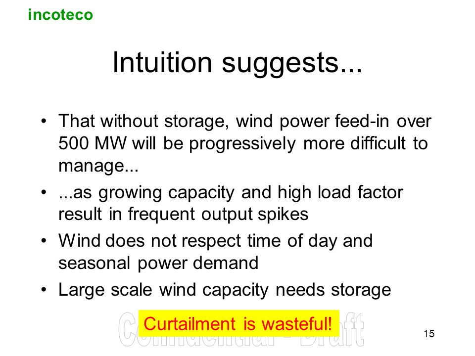incoteco 15 Intuition suggests... That without storage, wind power feed-in over 500 MW will be progressively more difficult to manage......as growing