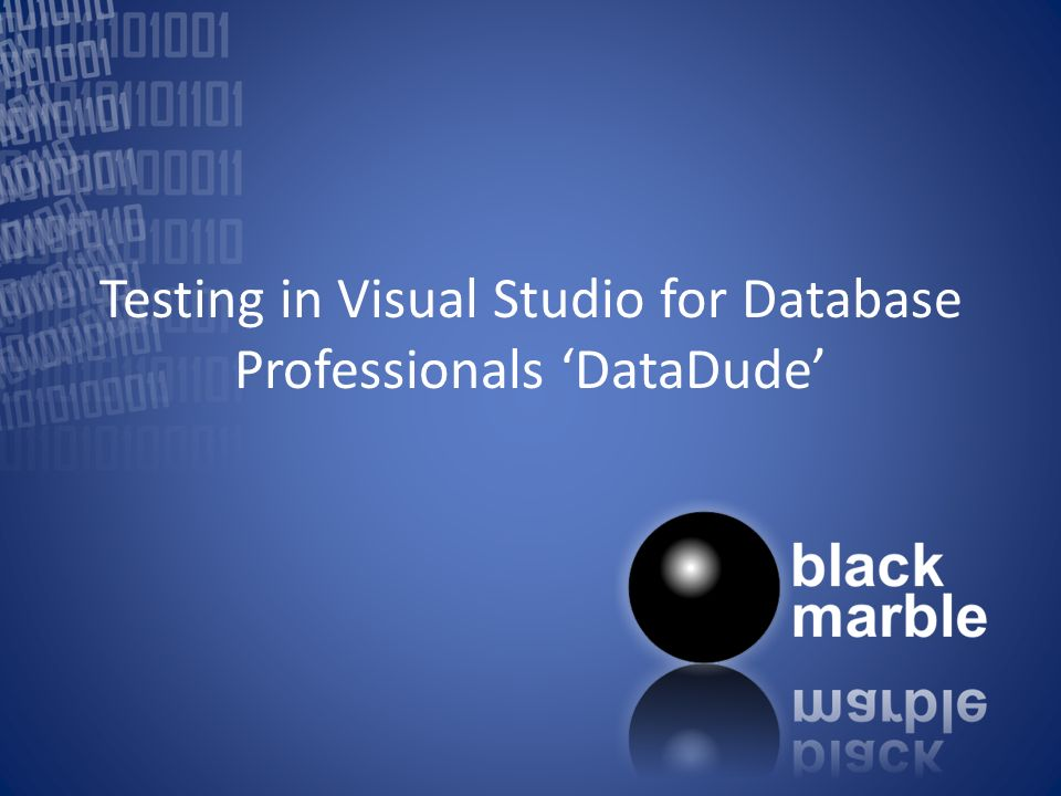 Testing in Visual Studio for Database Professionals DataDude