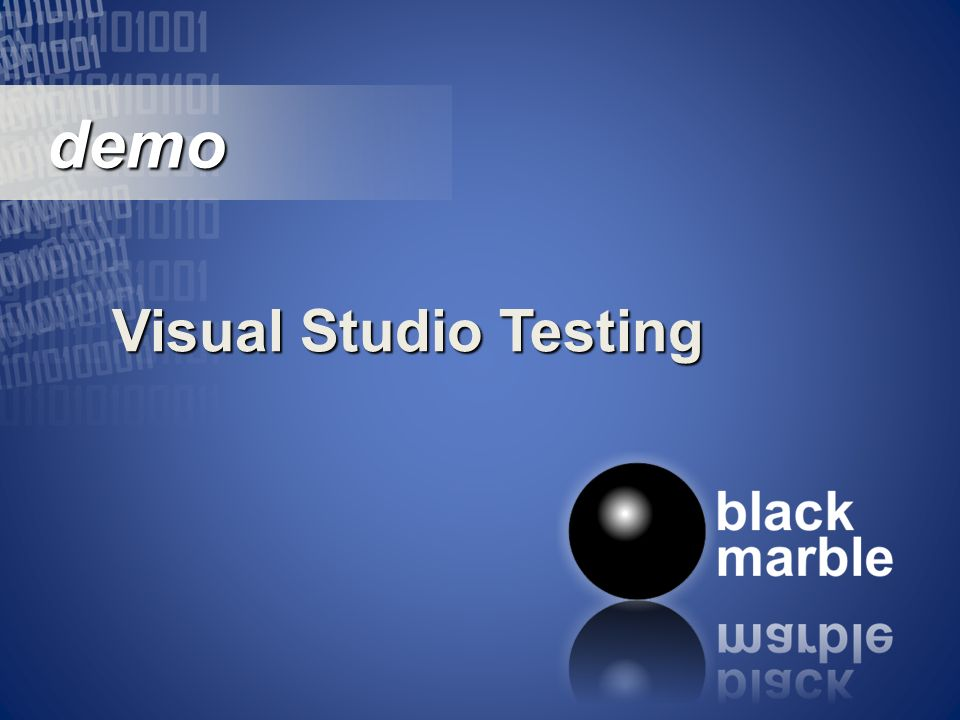demo demo Visual Studio Testing
