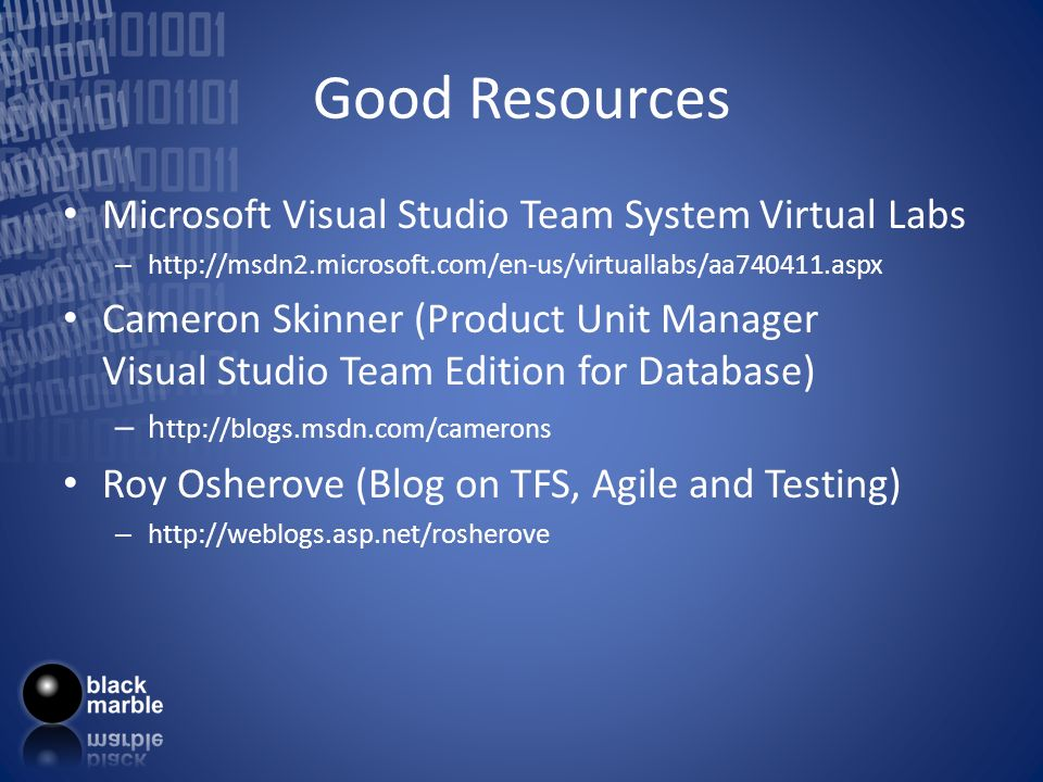 Good Resources Microsoft Visual Studio Team System Virtual Labs – http://msdn2.microsoft.com/en-us/virtuallabs/aa740411.aspx Cameron Skinner (Product Unit Manager Visual Studio Team Edition for Database) – h ttp://blogs.msdn.com/camerons Roy Osherove (Blog on TFS, Agile and Testing) – http://weblogs.asp.net/rosherove