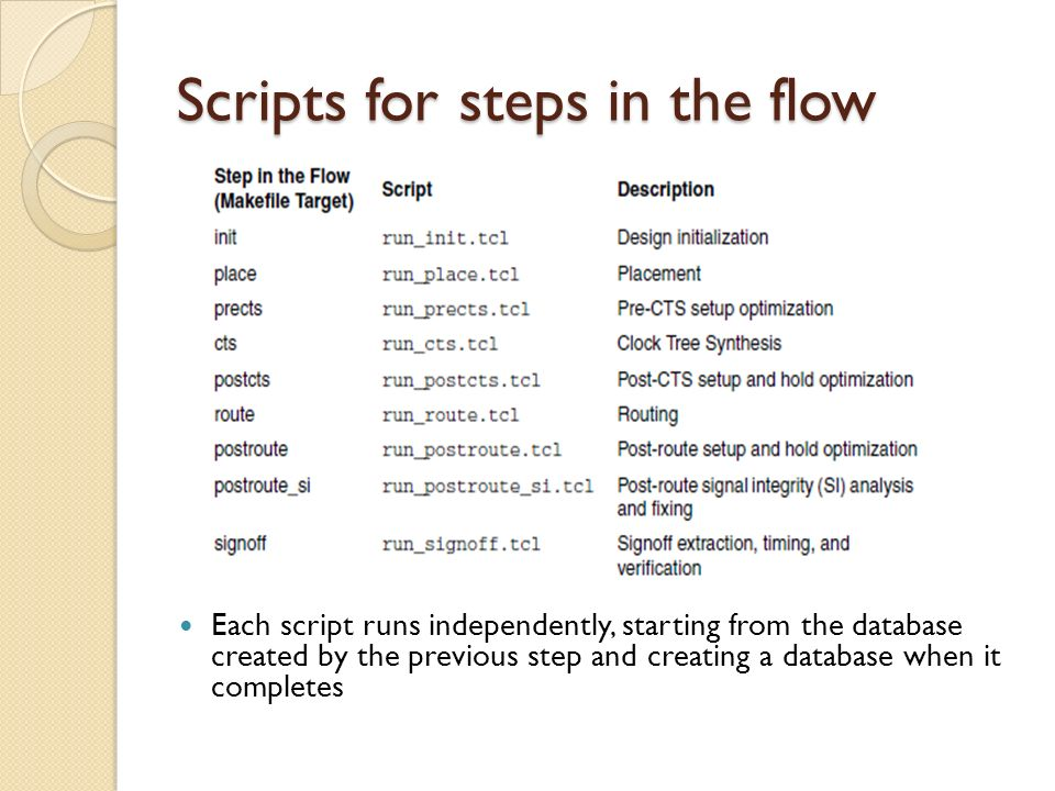 Scripts for steps in the flow Each script runs independently, starting from the database created by the previous step and creating a database when it